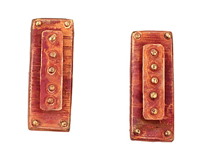 Patricia Healey Copper 3 Hole Raised Dots Bar 18x48mm