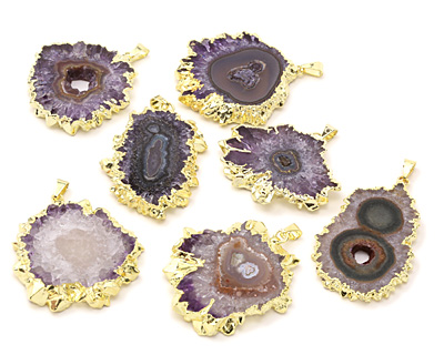 Amethyst Stalactite Slice Pendant Set in Gold (plated) 32-44x46-58mm