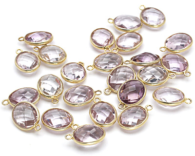 Amethyst Faceted Oval Drop in Gold Vermeil 9-10x14-15mm