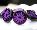 Czech Glass Plum w/ Violet Sun Coin 22mm