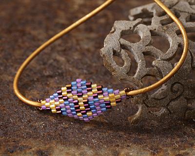 Delphinium Hand Woven Diamond 40x16mm