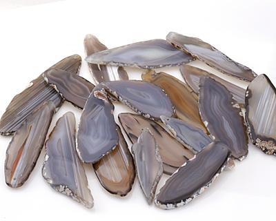 Gray Agate Freeform Slice w/ Natural Edge Focal 21-40x75-102mm
