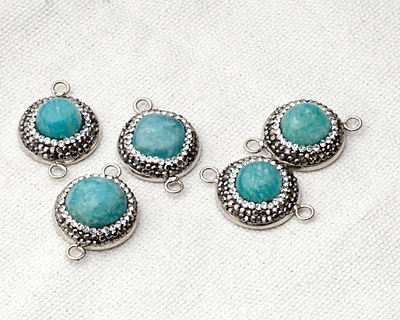 Brazil Amazonite w/ Pave Wrap Coin Focal Link Set in Silver (plated) 28x20mm