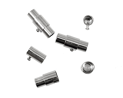 Silver (plated) Magnetic Locking Cord End Clasp 16x7mm