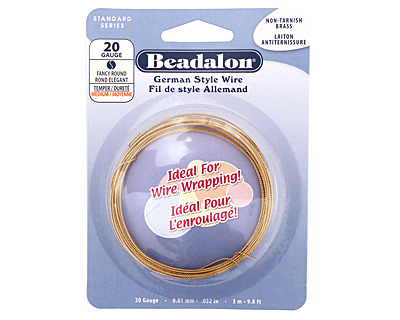 German Style Wire Non Tarnish Brass Fancy Round 20 gauge, 3 meters