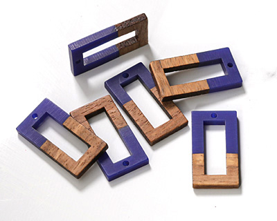 Walnut Wood & Indigo Resin Open Rectangle Focal 15x28mm