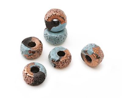Greek Ceramic Raku Metallic Frosted Copper Textured Donut 10x17mm