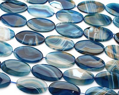 Denim Agate Flat Oval Pendant 58-60x28-32mm