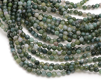 Moss Agate Faceted Round 6mm