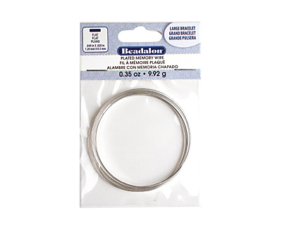 Flat Memory Wire Silver (plated) Large Bracelet .35 oz.
