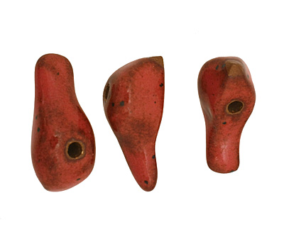 Kylie Parry Ceramic Rust Red Bird 10-11x25mm