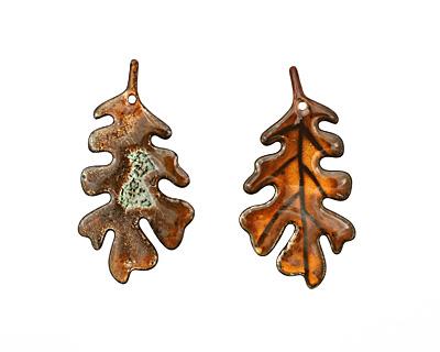 C-Koop Enameled Metal Rust Orange Large Oak Leaf 33x63mm
