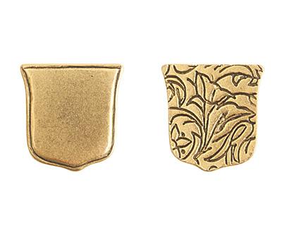 Nunn Design Antique Gold (plated) Crest Ensign Tag 17mm