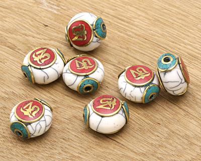 Tibetan White Shell & Brass w/
