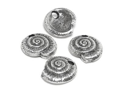 Greek Pewter Nautilus Spiral Pendant 20mm