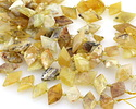 Yellow Opal Faceted Side-Drilled Diamond 11-15x22-26mm