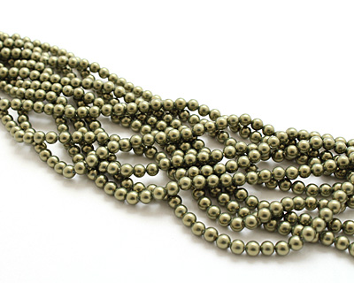 Olive Shell Pearl Round 4mm