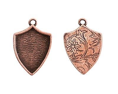 Nunn Design Antique Copper (plated) Crest Shield Bezel Pendant 20x30mm