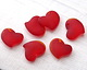 Cherry Red Recycled Glass Puffed Sweeping Heart Pendant 19x18mm