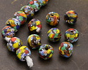 African Recycled Powder Glass & Seed Bead Festival Mix Tumbled Round 10-14mm
