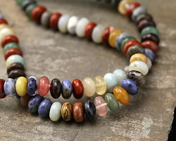 Multi Gemstone (Sodalite, Tiger Eye, Rose Quartz, Red Jasper) Rondelle 5x8mm