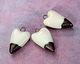 Gaea Ceramic Cream & Dark Gold Dipped Heart Pendant 17-18x31-32mm