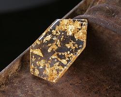 Gold Foil Acetate Gem Cut Focal 18x31mm
