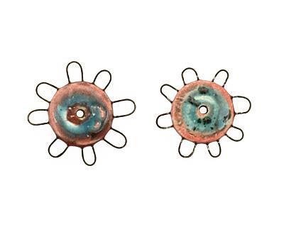 Jangles Ceramic Pink, Turquoise Small Pinwheel 27-28mm