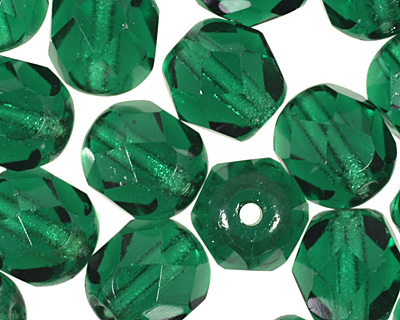 Czech Fire Polished Glass Green Emerald Round 6mm