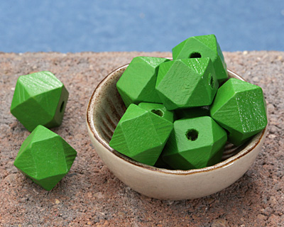 Kelly Green Wood Faceted Nugget 14mm