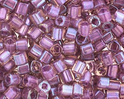 TOHO Rainbow Rosaline (with Opaque Purple Lining) Cube 1.5mm Seed Bead