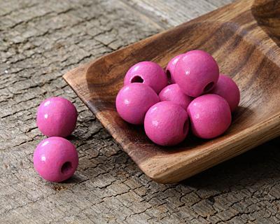 Pink Wood Round 14mm