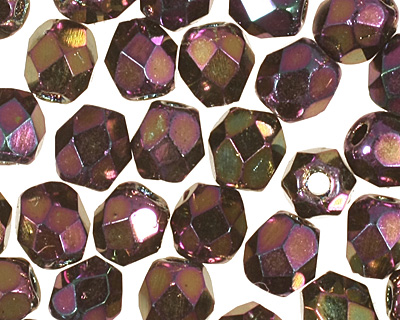 Czech Fire Polished Glass Iris Purple Round 3mm