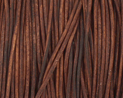 Natural Antique Brown Round Leather Cord 1.5mm