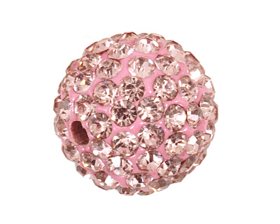 Light Rose Pave Round 12mm (1.5mm hole)