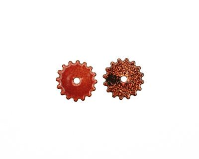 C-Koop Enameled Metal Ruby Red Small Closed Gear 16mm