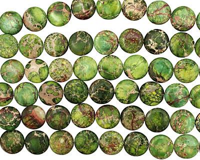 Green Impression Jasper Puff Coin 18mm