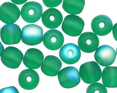 Czech Glass Matte Emerald AB Round 4mm