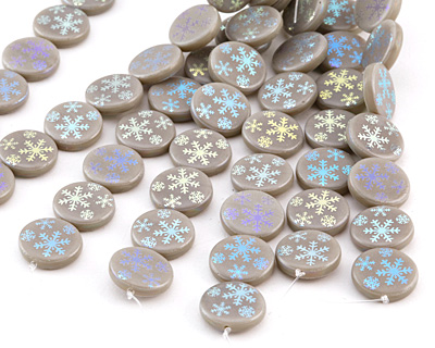 Czech Glass Laser Etched Snowflake on Grey Opaline w/ AB Finish Coin 14mm