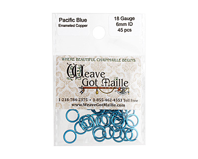 Pacific Blue Enameled Copper Round Jump Ring 8mm, 18 gauge