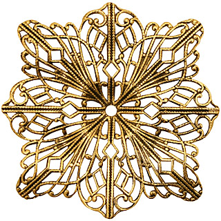 Stampt Antique Gold (plated) Filigree Compass Rose 48mm