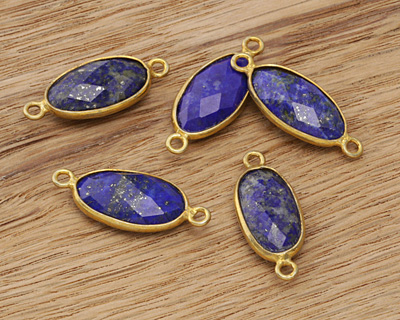 Lapis Faceted Oval Link in Gold Vermeil 23x9mm