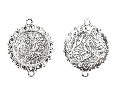 Nunn Design Sterling Silver (plated) Large Ornate Circle Bezel Link 37x30mm