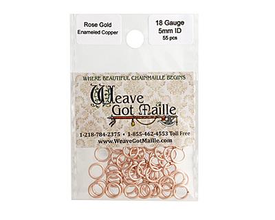 Rose Gold Enameled Copper Round Jump Ring 7mm, 18 gauge