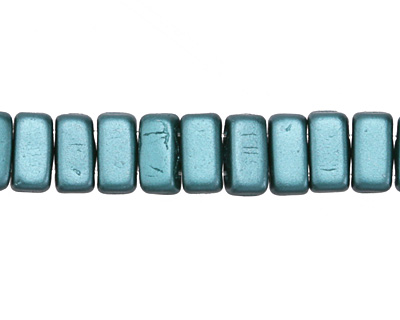 CzechMates Glass Pearl Coat Teal 2-Hole Brick 3x6mm