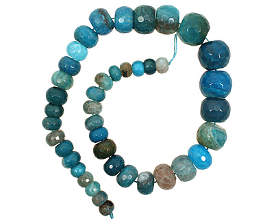 Sky Blue Line Agate Faceted Rondelle Graduated 6-13x11-21mm
