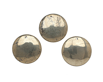 Golden Pyrite (silver tone) Puff Coin Pendant 38mm