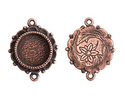 Nunn Design Antique Copper (plated) Mini Ornate Circle Bezel Link 25x19mm