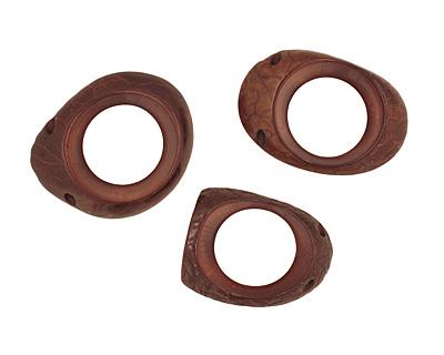 Tagua Nut Dark Brown Open Slice (side drilled) 33-45x24-36mm