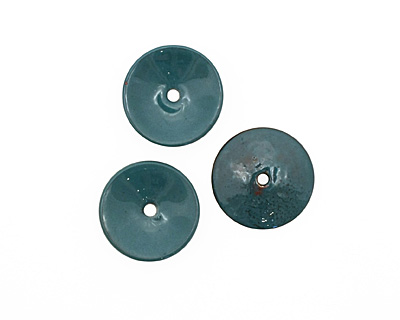 C-Koop Enameled Metal Peacock Blue Disc 3-4x18-20mm